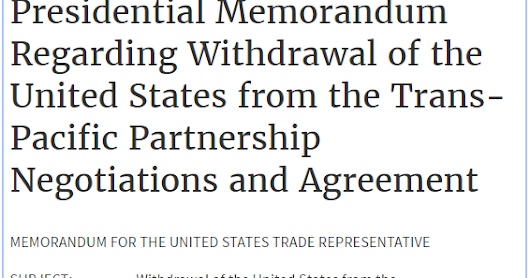 Free Trade 65, On the US withrawal from the TPP