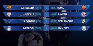 Hasil Lengkap Perempat Final Liga Champions
