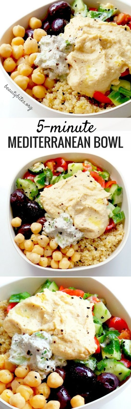 5-Mínute Medíterranean Bowl – Healthy Lunch Meal Prep Recípe