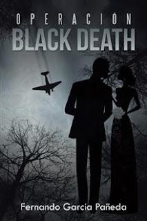 Portada de la novela de Fernando García Pañeda Operación Black Death, donde se pueden ver las siluetas de un hombre y una mujer, con un avión al fondo.