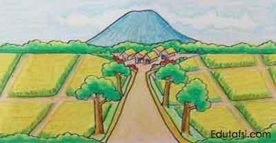 Belajar menggambar pemandangan dengan oil pastels