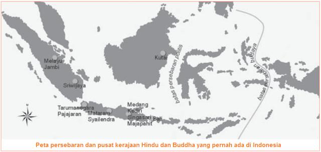 Peta persebaran dan pusat kerajaan Hindu dan Buddha yang pernah ada di Indonesia - Peta Jalur Masuk dan Daerah Yang Dipengaruhi Hindu-Buddha di Indonesia