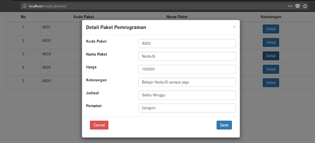 Modal Bootstrap Data Dinamis