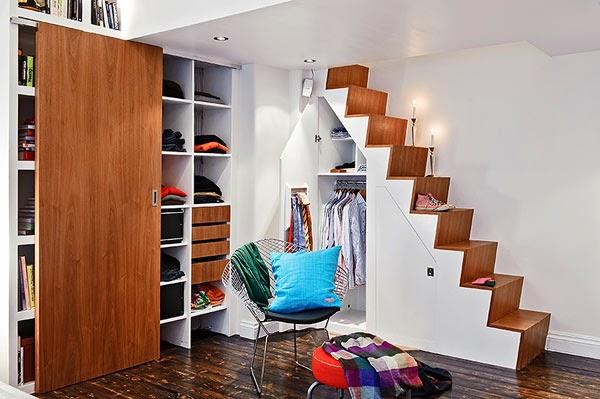 projetar minhas idéias sala Guarda roupas embutido em escada
