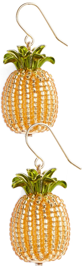 KATE SPADE NEW YORK by the pool pineapple drop earrings