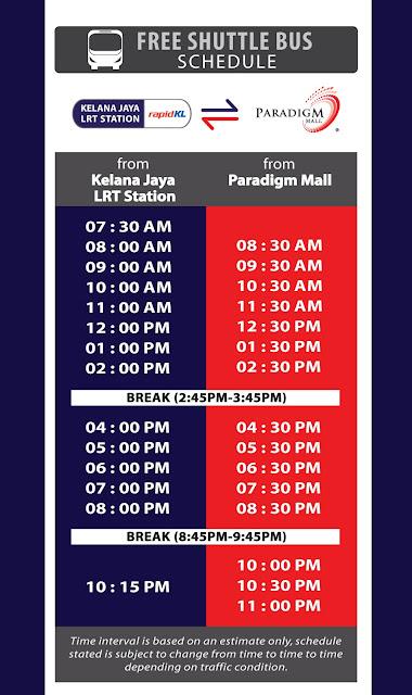 Paradigm Mall Kelana Jaya LRT Station Free Shuttle Bus Schedule