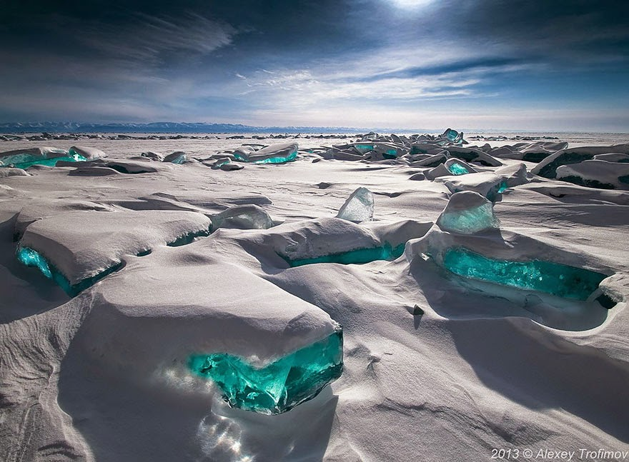 7. Emerald Ice on Lake Baikal located in the south of the Russian region of Siberia - 29 Unbelievable Locations That Look Like They're Located On Another Planet