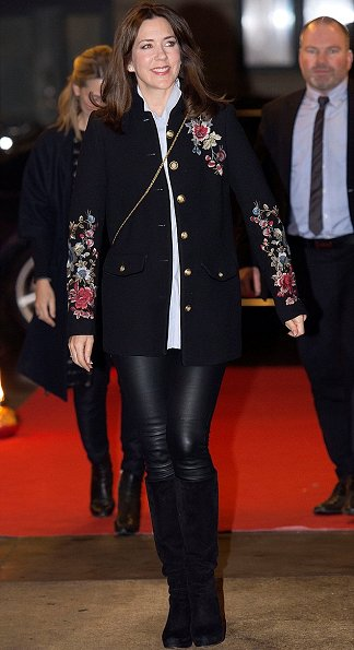Crown Princess Mary wore Zara Floral Embroidered Military Style Coat. Zara leather trousers at International Women's Day 2017