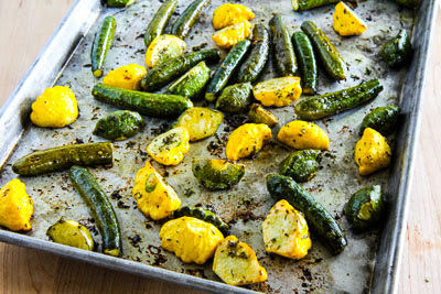 Easy Roasted Baby Summer Squash with Feta and Thyme found on KalynsKitchen.com