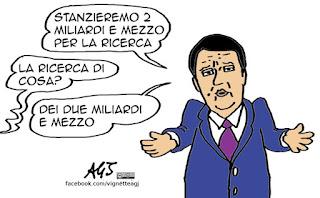 Renzi, ricerca, fondi, cervelli, vignetta, satira