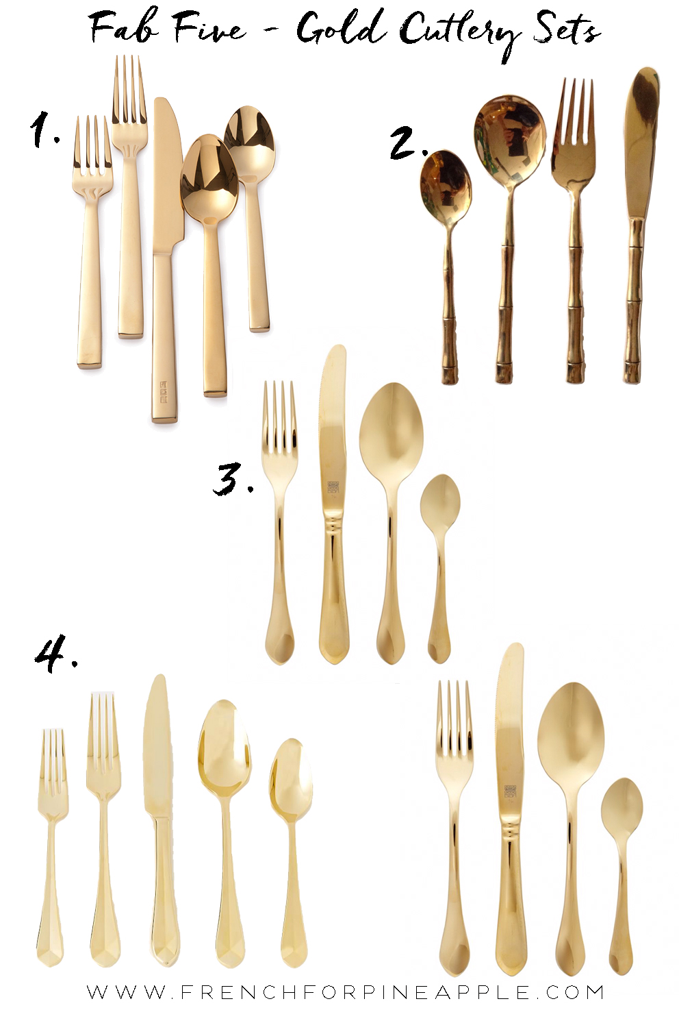 Gold Cutlery Sets Fab Five Gold Cutlery Sets F R E N C H F O R P I N E A P P L E