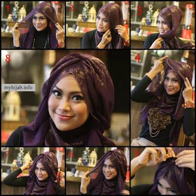 Tutorial Hijab Turban Pashmina Modern Gaya #18 Layer Cool