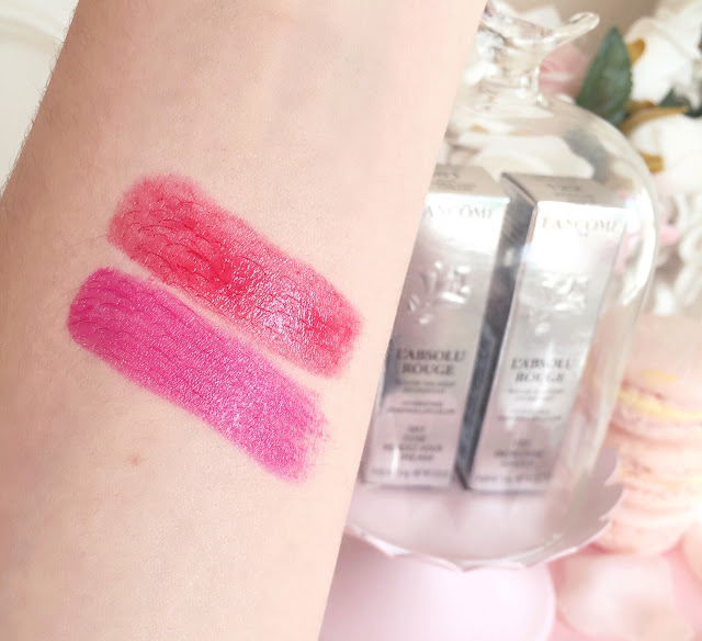 Lancome L'Absolu Rouge Lipstick Swatches| 122 Indecise & 318 Rose Rendez-Vous