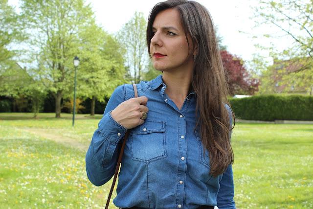 chemise en jean pimkie, jupe midi river island