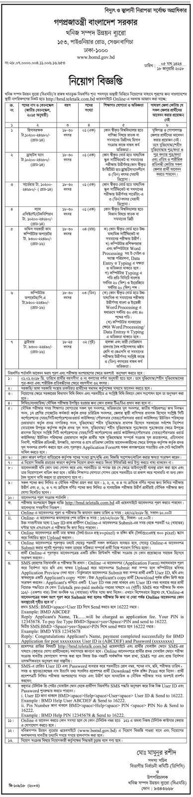 BOMD - Bureau of Mineral Development Job Circular 2018