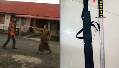 Wanita acungkan samurai saat cekcok dengan tetangga