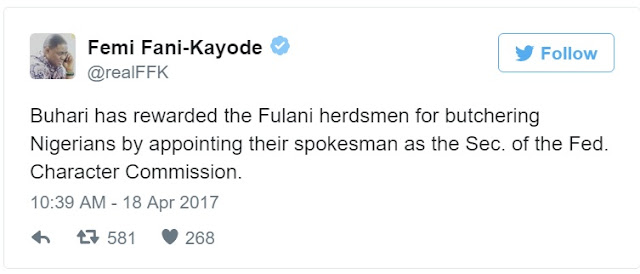 Femi Fani Kayode blasts Buhari for appointing 3 Fulanis in one day