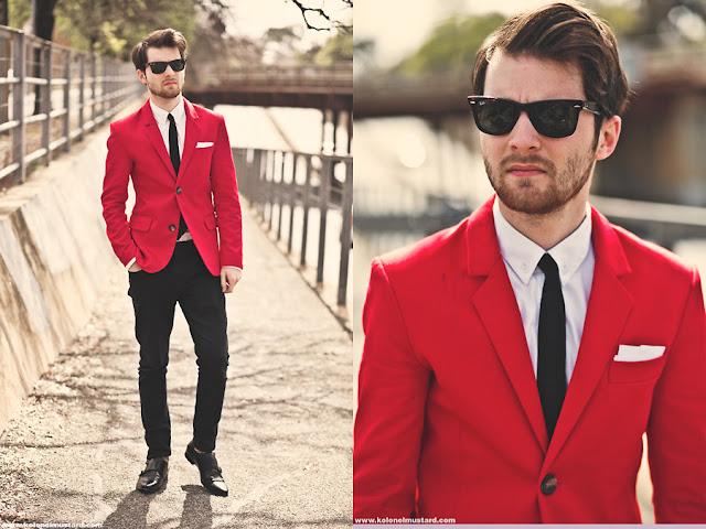 Resultado de imagem para looks blazer vermelho para homem
