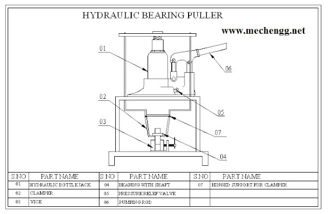 DRAWING FOR HYDRAULIC BEARING PULLER