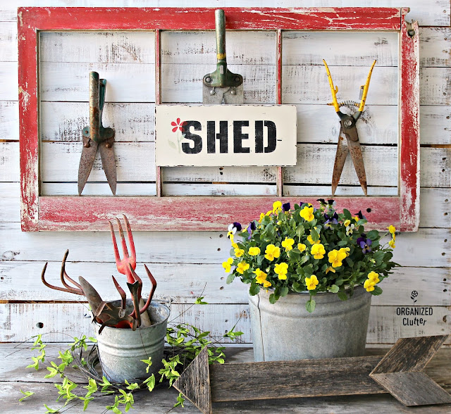 Thrift Shop Sign Makeover and Vintage Grass Shears