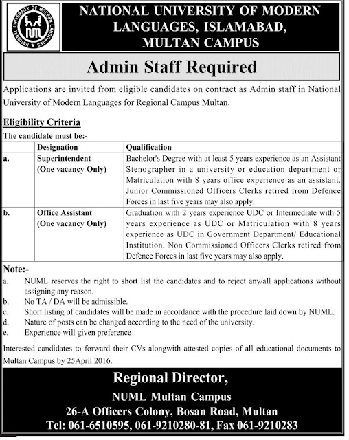 Admin Staff Jobs in NUML University Islamabad Multan Campus