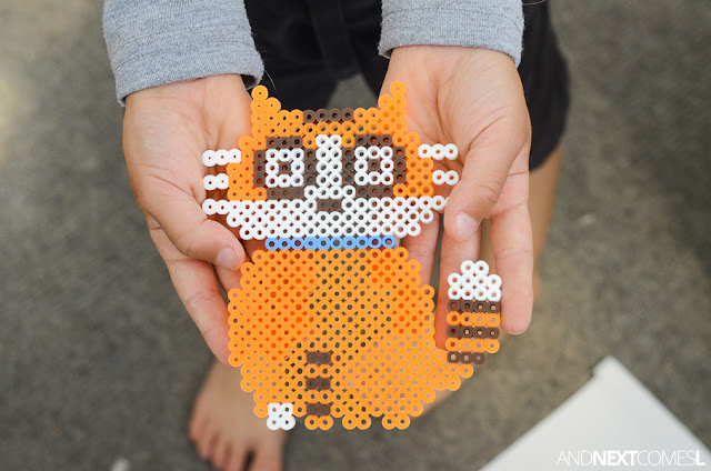Sassafras the cat perler bead craft for kids from And Next Comes L