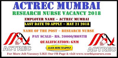 ACTREC Mumbai Research Nurse Vacancy 2018