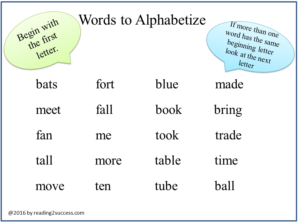 Alphabetize - VocabularySpellingCity