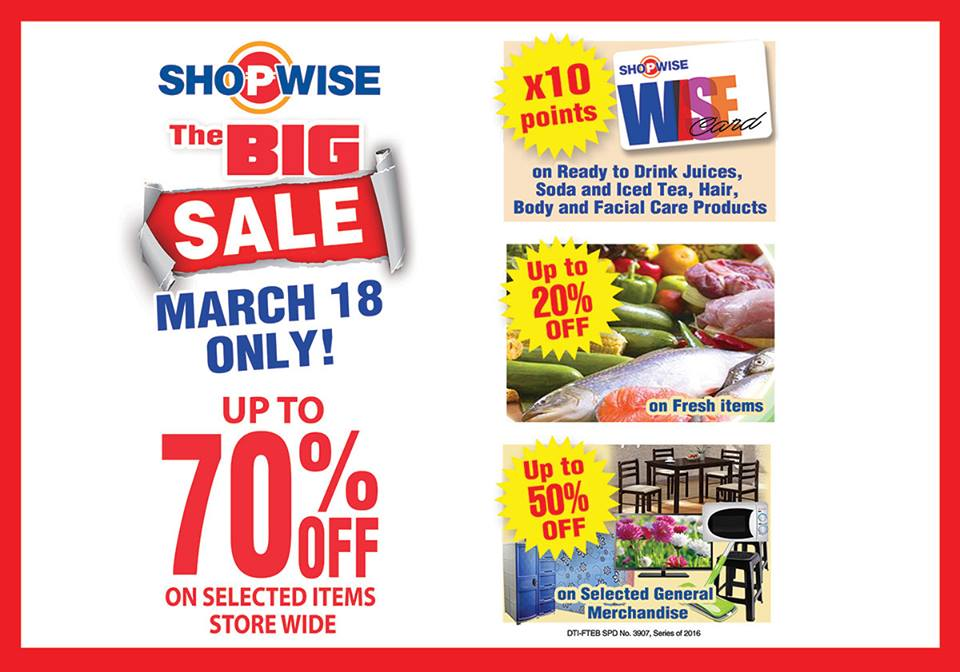 7187206f5f8e5 Shopwise One-Day Big SALE  March 18 2016. Check out ...