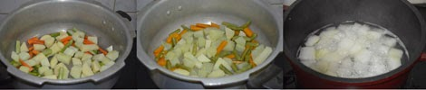 cooking vegetables for aviyal