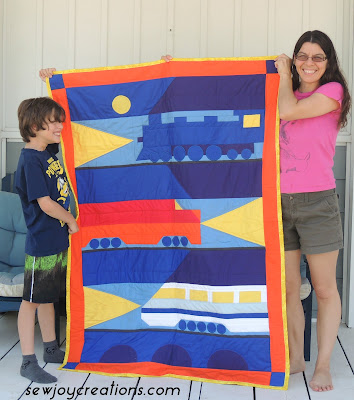 sam and train quilt july 2016
