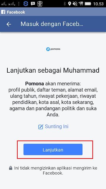 Cara Daftar di Aplikasi Pomona Android via Facebook