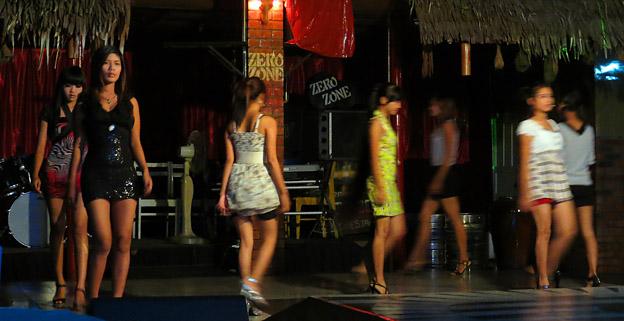 Burmese girls working at night