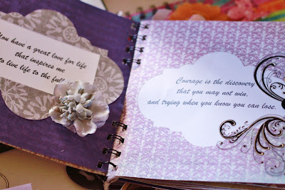 quotes, kind words, purple, homemade scrapbook
