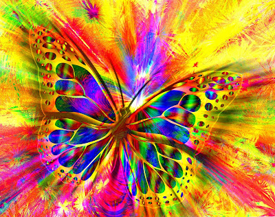 Colorful psychedelic image of a butterfly