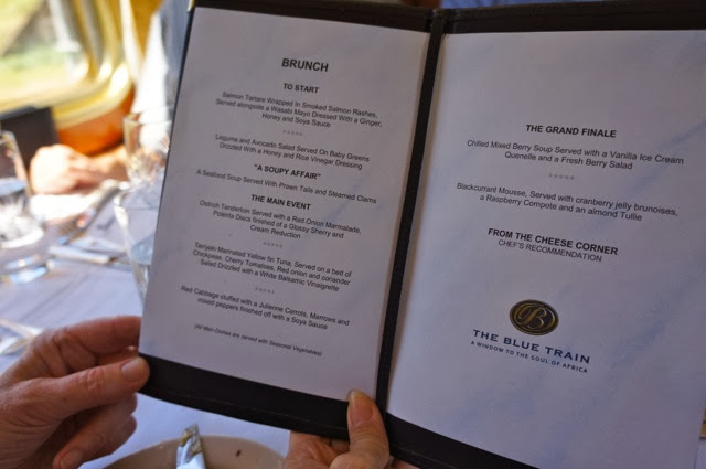 Menu onboard the Blue Train