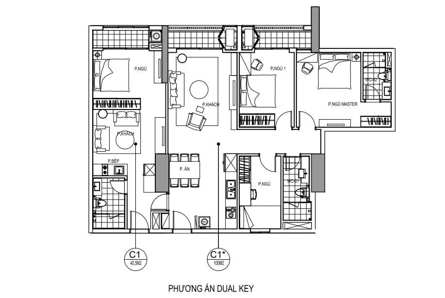 Thiết kế căn hộ dual key Goldmark City