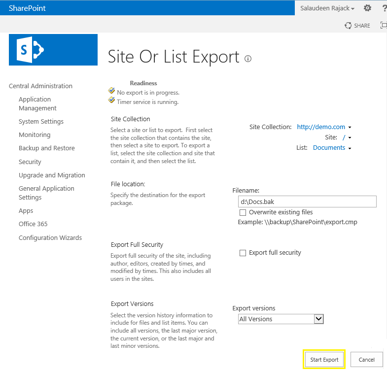 export and import list in sharepoint 2013