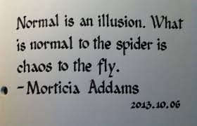 Morticia Addams Normal is an illusion quote