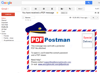 Image showing PDF Postman message in Gmail inbox.