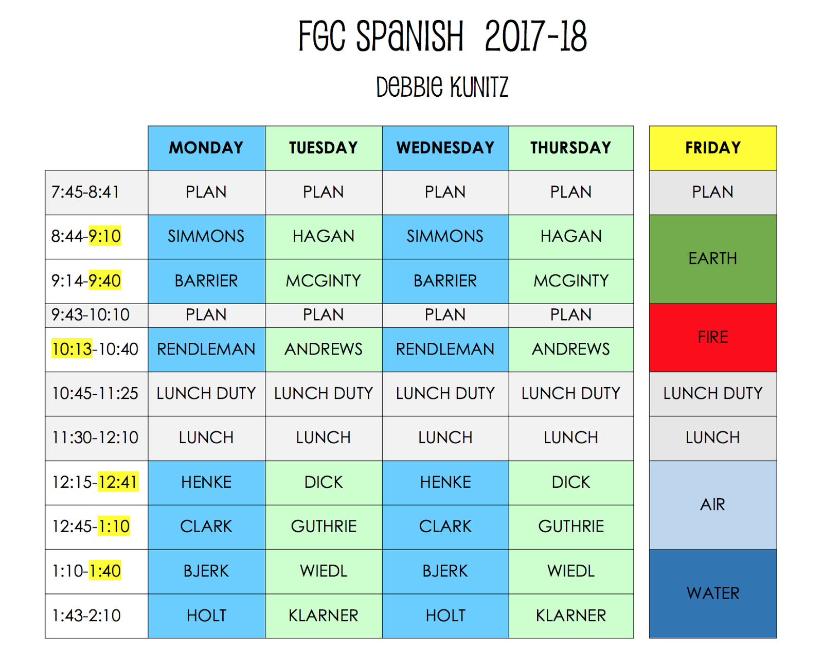 FGC SPANISH: Schedule