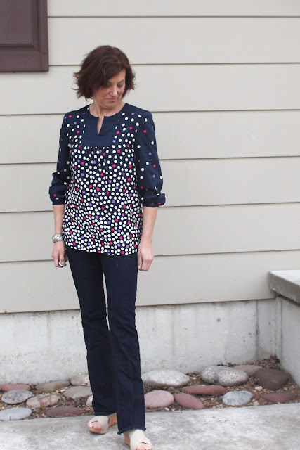 McCall's 7284 blouse made with a polka dot border print