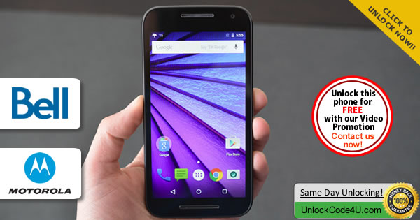 Factory Unlock Code Motorola Moto G 3Generation from Bell