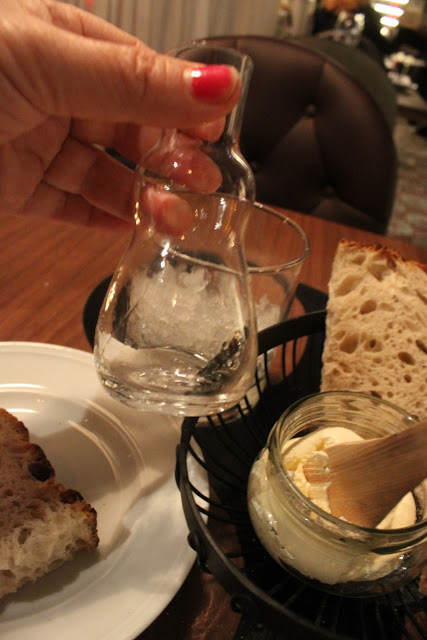 aquavit served in a 'grandma' bottle, teaterbrasseriet, stockholm