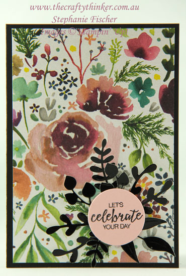 #thecraftythinker  #stampinup  #cardmaking  #easycards  #sprigpunch  #foliageframe , Frosted Floral paper, easy cards, Sprig Punch, foliage frame, Stampin' Up Australia Demonstrator, Stephanie Fischer, Sydney NSW