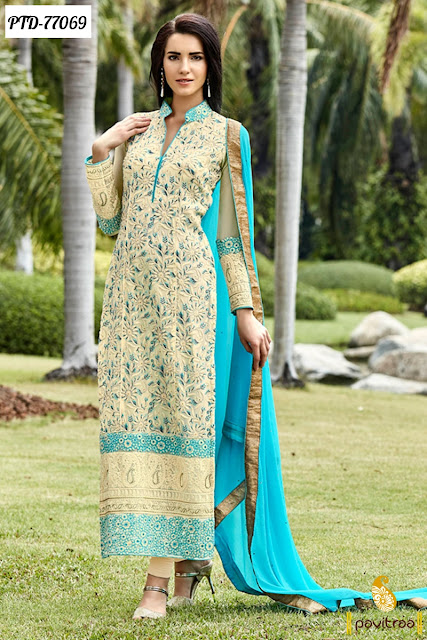 Eid festival turquoise beige Pakistani Salwar Kameez Suits For Girls Online Shopping
