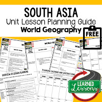 South Asia geography lesson plans, world geography lesson plans, geography activities, world geography games, world geography middle school, world geography high school