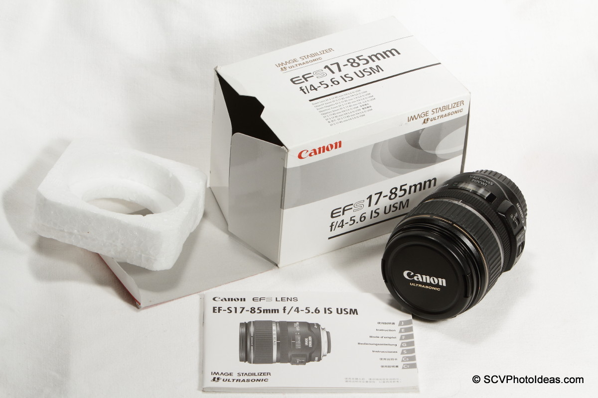 Canon EF-S 17-85mm F/4.0-5.6 IS USM box contents
