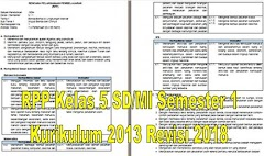 RPP Kelas 5 SD/MI Semester 1 Kurikulum 2013 Revisi 2018 - Guru Krebet 3