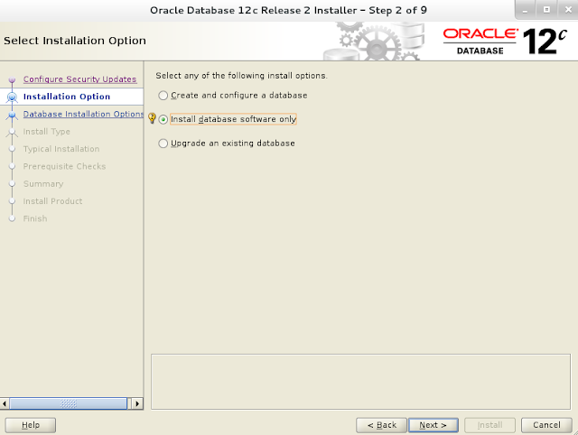 Installing oracle database 12c r2 on Linux wizard screen 2